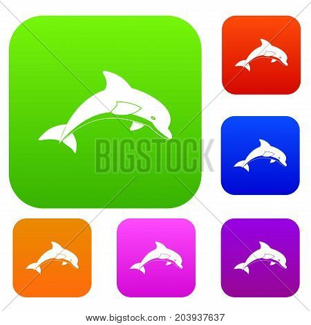 Jumping dolphin set icon color in flat style isolated on white. Collection sings vector illustration