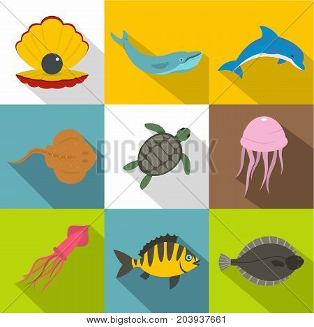 Water wildlife icon set. Flat style set of 9 water wildlife vector icons for web design