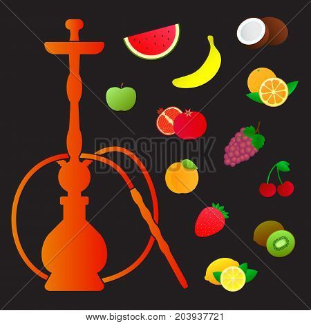 Hookah silhouette with different fruit flavors. Various flavor additives. Vector illustration for hookah menu.