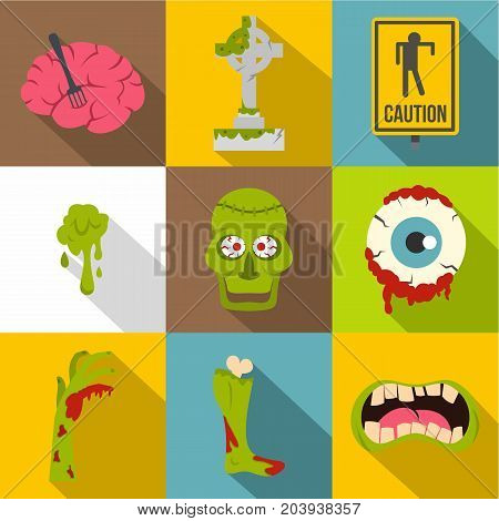 Zombie night icon set. Flat style set of 9 zombie night vector icons for web design
