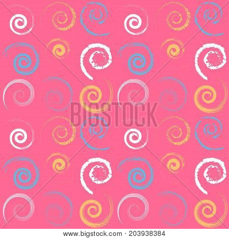 Bright and colorful seamless pattern with spirals. Yellow white and blue spirals on pink background. Fashion texture. Vector illustration.