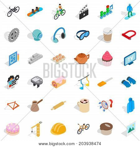 Clapper icons set. Isometric style of 36 clapper vector icons for web isolated on white background