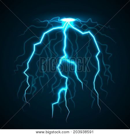 Storm thunderbolt concept background. Realistic illustration of storm thunderbolt vector concept background for web design