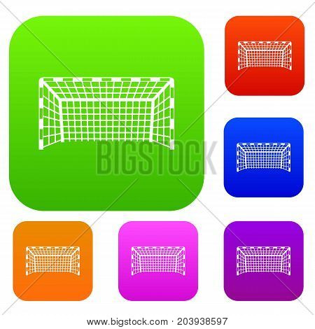 Goal post set icon color in flat style isolated on white. Collection sings vector illustration