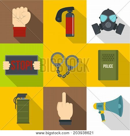 Human protester icon set. Flat style set of 9 human protester vector icons for web design