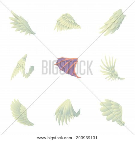 Wings with feathers icons set. Cartoon set of 9 wings with feathers vector icons for web isolated on white background