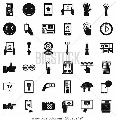 Monitor icons set. Simple style of 36 monitor vector icons for web isolated on white background