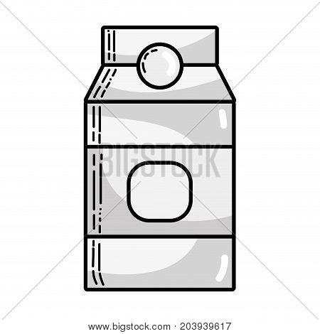 grayscale delicious milk box product to nutrient vector illustration