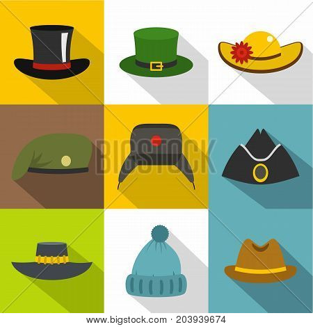 Different, headgear, icon set. Flat style set of 9 different headgear vector icons for web design