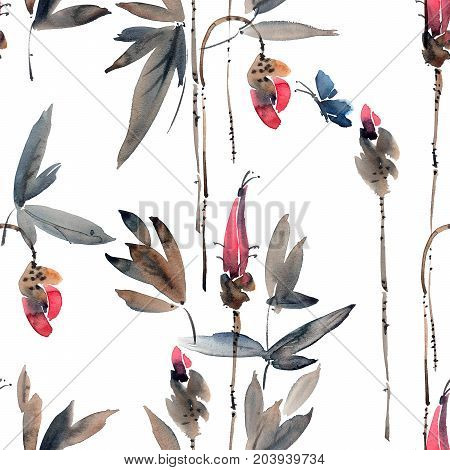 Watercolor and ink illustration of flower buds and butterfly. Sumi-e u-sin painting. Seamless pattern.