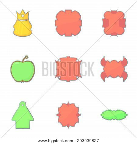 Store emblems icons set. Cartoon set of 9 store emblems vector icons for web isolated on white background