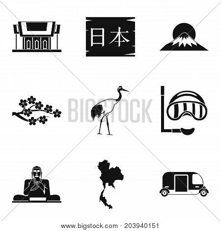 Japanese history icons set. Simple set of 9 japanese history vector icons for web isolated on white background