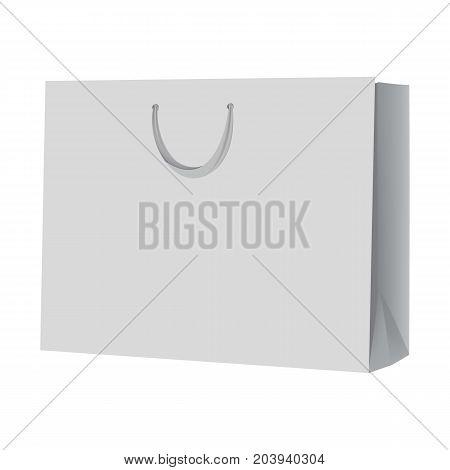 Empty shopping bag mockup. Realistic illustration of empty shopping bag vector mockup for web design isolated on white background