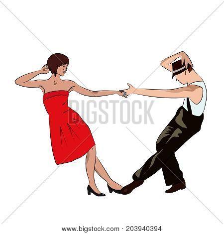 Couple man and woman dancing, vintage dance, retro vector illustration