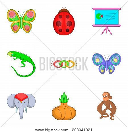 Learning biology icons set. Cartoon set of 9 learning biology vector icons for web isolated on white background