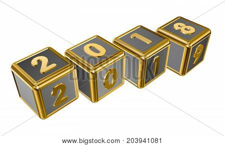 Figures 2018 and 2019 on gold cubes in 3D isolated on a white background