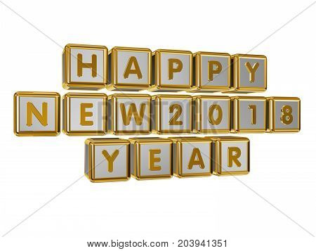 The inscription Happy New 2018 Year on the golden cubes in 3D isolated on a white background