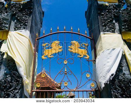 BALI, INDONESIA - MARCH 11, 2017: Close up of a door of the Uluwatu temple in Bali island, Indonesia.