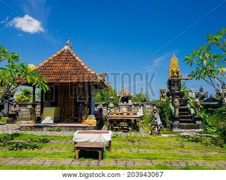 BALI, INDONESIA - MARCH 11, 2017: Sculptures in outdoors of the Uluwatu temple in Bali island, Indonesia.
