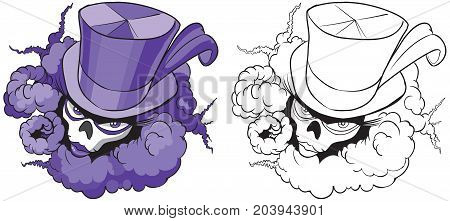 Vector cartoon clip art illustration of a female voodoo mascot with a feathered top hat skull mask and billowing smoke. In color and black and white.