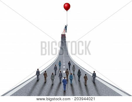 Managing business success ambitions concept as a management and team manager symbol as a businessman lifting a road up with a balloon as a leadership metaphor with 3D illustration elements on white.
