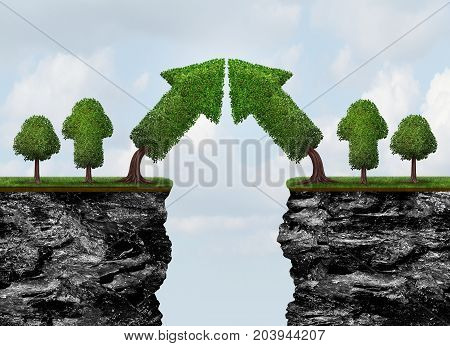Business growth meeting and world trade or global economic growth concept as a financial and international finance success as growing arrow trees connecting together with 3D illustration elements
