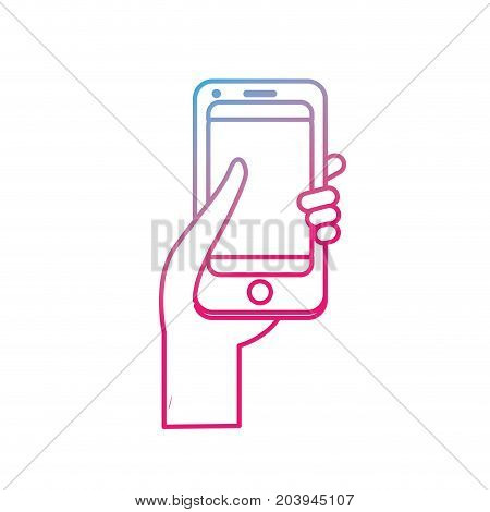 line technology smartphone in the hand vector illustration