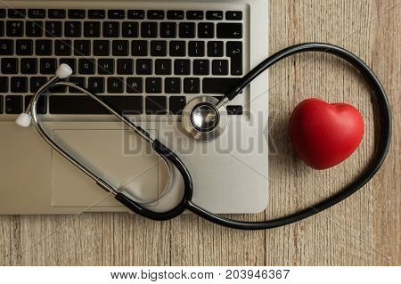 Stethoscope with computer and phone - computer system maintenance and check con