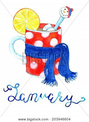 January month. Cup with warm drink in scarf. Watercolor isolated illustration for calendar design page. Concept of twelve months symbols and hand writing lettering