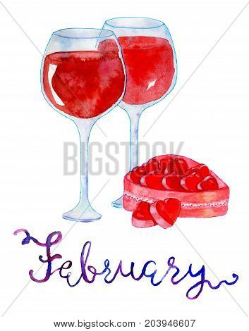 February month. Two goblets of wine and chocolate candies. Watercolor isolated illustration for calendar design page. Concept of twelve months symbols and hand writing lettering