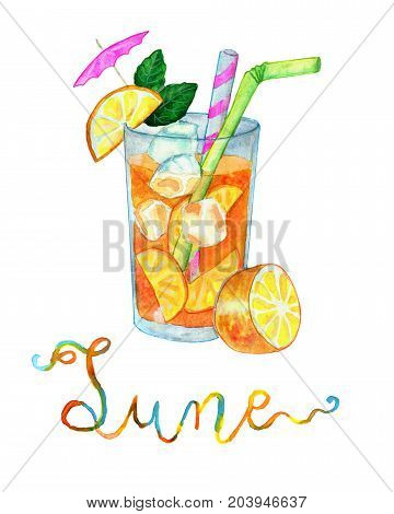 June month. Tropical orange cocktail for rest and vacation. Watercolor isolated illustration for calendar design page. Concept of twelve months symbols and hand writing lettering