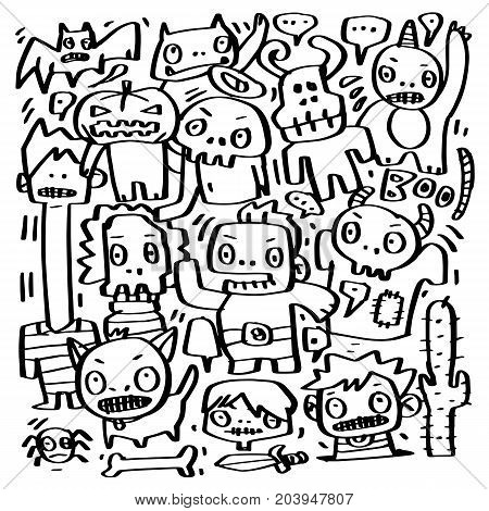 Vector Ghosts and monsters of gang of Halloween doodle characters design.