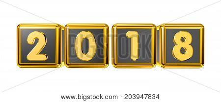Gold figures 2018 front on gold cubes in 3D isolated on a white background