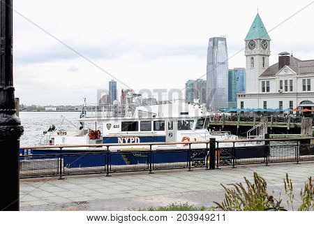 New York USA - 28 September 2016: New York Police Department (NYPD) Harbor Boat moored at Battery Park Lower Manhattan.