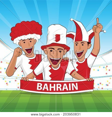 bahrain Flag. Cheer football support Vector illustration.