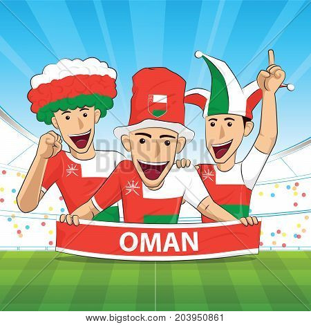 oman Flag. Cheer football support Vector illustration.