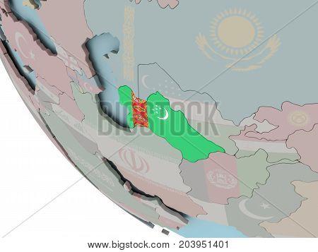 Turkmenistan With Flag Illustration