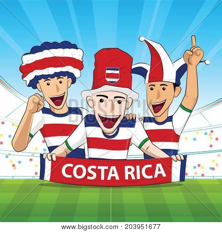 costa rica Flag. Cheer football support Vector illustration.