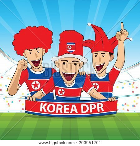 korea dpr Flag. Cheer football support Vector illustration.