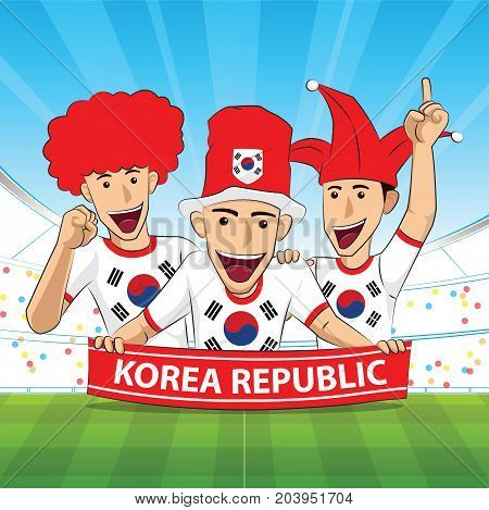 korea republic Flag. Cheer football support Vector illustration.