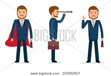 Ready to use character creation set. Businessman standing in a cloak, with a telescope, showing OK with fingers. Business, office work, workplace. Flat design vector illustration.