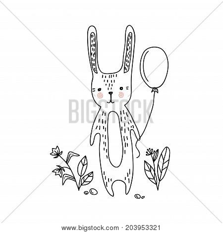 Baby shower invitation card with cute bunny. little bunny hand drawn illustration for kids print textile cards advertising. Vector illustration.