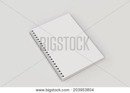Opend Notebook Spiral Bound On White Background