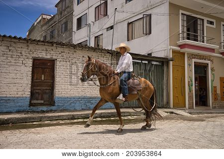 March 12 2017 Vilcabamba Ecuador: horseback riding is a popular tourist activity in the isolated indigenous town