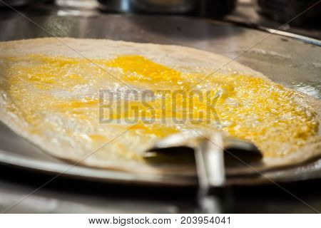 Fried Roti With Egg And Banana.