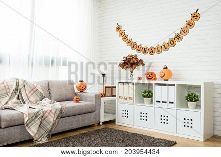 no people Halloween decoration living room for copy space background at home