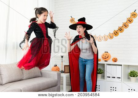 Horror Little Witch Girl Jump From The Sofa