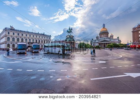 ST.PETERSBURG/ RUSSIA - JULY 19, 2017. St. Isaac's Square with the Monument to Nicholas 1 and St. Isaac's Cathedral is one of the popular places for visiting the city's guests
