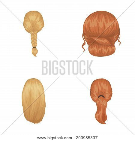 Light braid, fish tail and other types of hairstyles. Back hairstyle set collection icons in cartoon style vector symbol stock illustration .