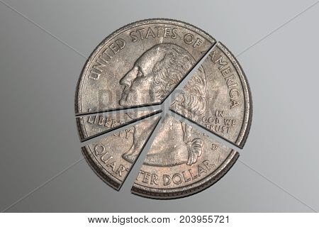 American quarter divided into a pie chart.